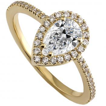 halo ring with a pear shaped diamond layer set around a double roundel with paws between surrounded with castle set brilliant cut diamonds between a band with rectangular profile