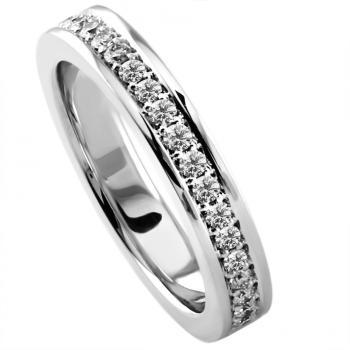 hand made wedding ring half set with brilliant cut diamonds set in pavé with a slightly wider border