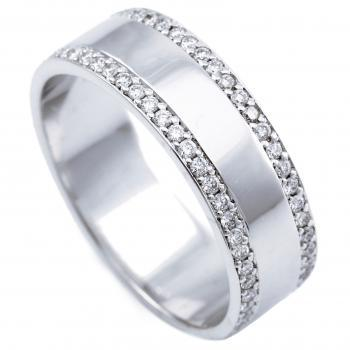 wider wedding ring with brilliant cut diamonds on both sides