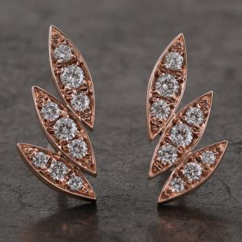 earrings with three handmade marquise shaped leaves pavé set with brilliant cut diamonds