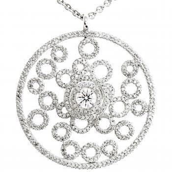 pendant with a central brilliant cut diamond surrounded with smaller diamonds and small set rings