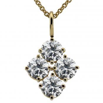 pendant with four larger brilliant cut diamonds each set with four prongs and with a simple bracket