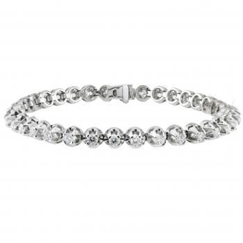 tennis bracelet rivière with brilliant cut diamonds in mirror setting