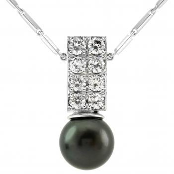 beam shaped pendant set with a double row of brilliant cut diamonds including a Tahitii pearl