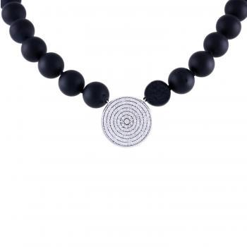 matt onyx necklace with a hollowish disc pavé set with brilliant cut diamonds