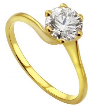solitaire ring with a brilliant cut diamond in a twisted setting with six prongs