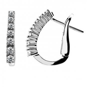 earrings with seven brilliant cut diamonds set under each other with four prongs