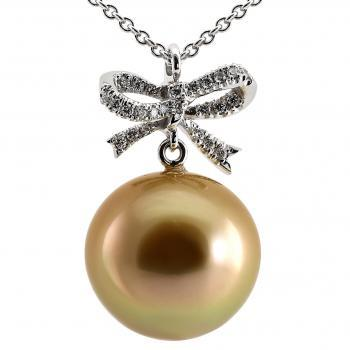 pearl pendant with a gold-colored South Sea pearl AAA + nice round with a high luster with a bow set with brilliant cut diamonds including round anchor chain