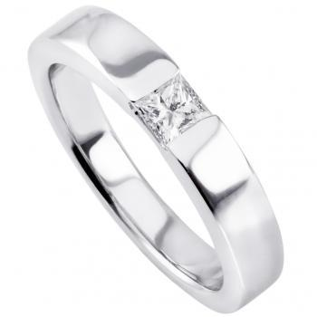 slim solitaire ring with a princess cut diamond under which a small join