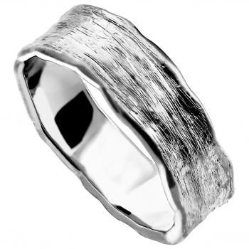 wedding band with organic polished edges