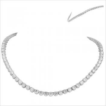 descending tennis necklace or rivière with brilliant cut diamonds set with prongs or claws