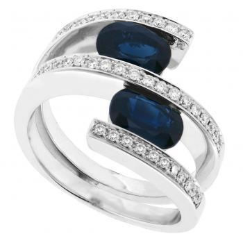 Spiral ring with two oval sapphires, pavé set with brilliant cut diamonds