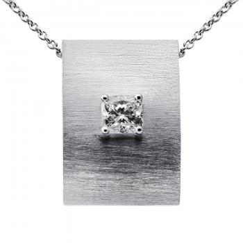 slim rectangular pendant with a cuschion cut diamond set in four prongs