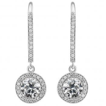 halo earrings with two central brillaiant cut diamonds surrounded with pavé set smaller brilliant cut diamonds finished with engraving and pending on a bar with clip system