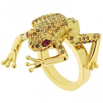 poison dart frog ring set with fancy yellow, champagne and cognaccolored briljant cut diamonds