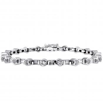 bracelet with brilliant and baguette cut diamonds set in half open bezel setting