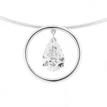 pendant with pear shaped diamond set in a circle