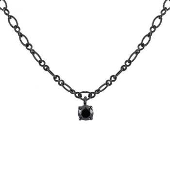 special necklace with a solitaire pendant with a black brilliant cut diamond set with four claws attached to a very small loop