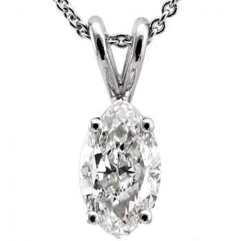 handmade solitaire pendant with a marquise cut diamond set with four prongs on a double bracket