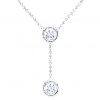 Y solitaire necklace with brilliant cut diamonds in a thin donut setting