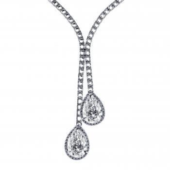 Toi et Moi tennis necklace with two large pear-shaped cut diamonds surrounded by smaller diamonds