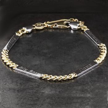 wider bracelet with flattened gourmet links with four flat nameplates engraved on both sides (+ safety chain)
