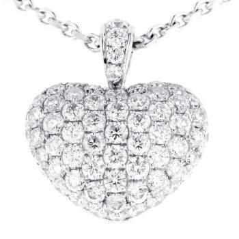 pavee pendant rounded heart with clasp set with brilliant cut diamonds