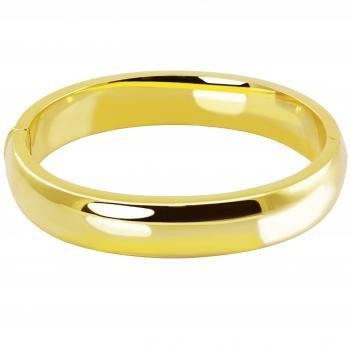 slim wide bangle slightly rounded on the top with hinge and lock