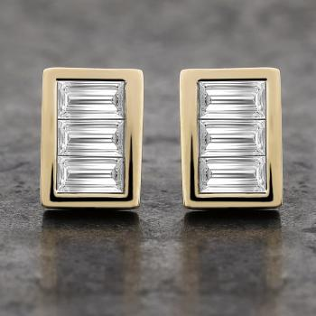 slim earrings with  chanel set baguette cut diamonds