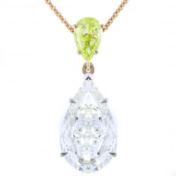 pendant with two pear shaped diamonds