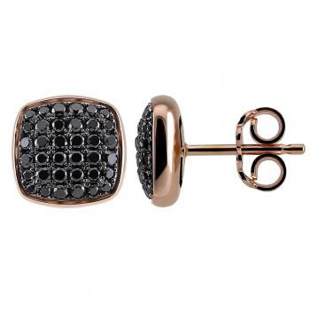 hollow rounded square earrings pavé set with black brilliant cut diamonds finished with baté on the back