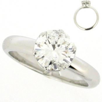 solitaire ring with brilliant cut diamond in a lower setting