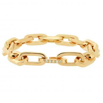 bracelet tight oval link with lock set with brilliants