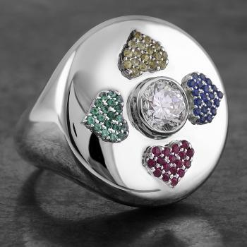 hollow ring with a company logo with a central brilliant cut diamond around which pavé set hearts in four different colors with sapphire, ruby and emerald