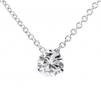 necklace with a solitaire pendant with a brilliant cut diamond set with three prongs