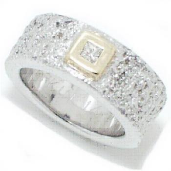 ring 18kt wit gele kast princess