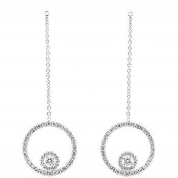"pair of entourage pendants ""Juliana"" with brilliant cut diamonds pending on a thin chain"