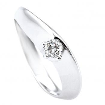 solitaire ring with a brilliant cut diamond in a six-prong basket against a wavy higher band