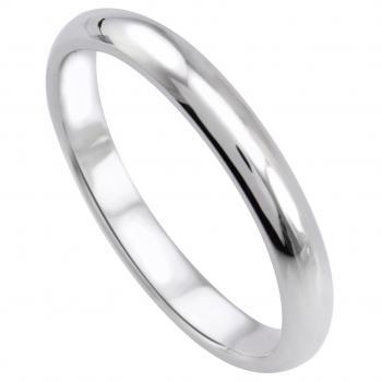 wedding ring slightly rounded aside, flat on the side and the inside (lighter D-shape)