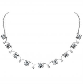 handmade fine art deco necklace with nine brilliant cut diamonds set with four prongs and small curves inbetween the diamonds set with a smaller brilliant (with extra roundel 3.5 and 6cm and with safety chain)
