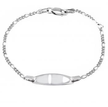 baby bracelet with an oval plate on a flat figaro chain with in between a ring on 2cm (exclusive engraving)