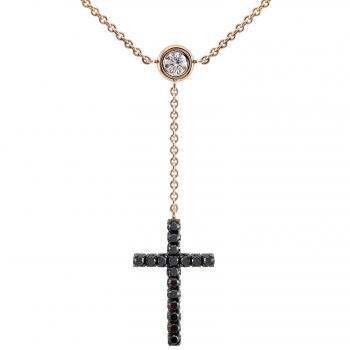 Y necklace with a cross pavé set with black diamonds and in between a white brilliant cut diamond of twenty-five points set in a donut