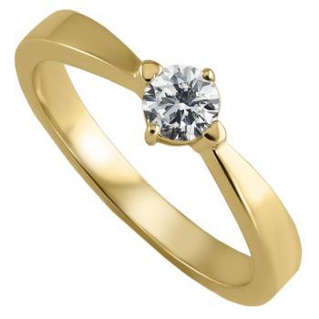 solitaire ring with a brilliant cut diamond set with four prongs in lozenge position to the flat band and with two heartshaped claws heavier than the other