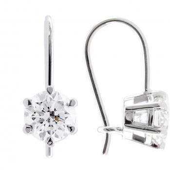 solitaire earrings with brilliant cut diamods set in a 6-prong basket with a loop system