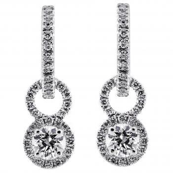 creole earrings with entourage pendants and 2 central brilliant cut diamonds