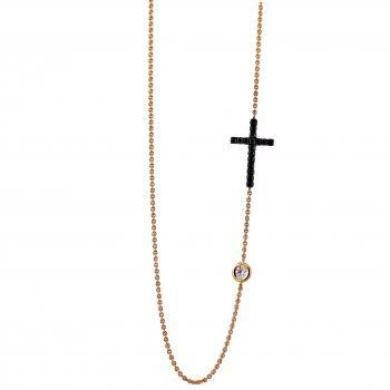 necklace with a cross pavé set with black diamonds and in between a white brilliant cut diamond of twenty-five points set in a donut