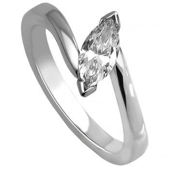 solitaire ring with a marquise cut diamond upon a band in a V-prong-setting