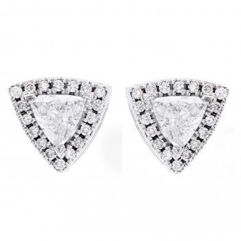 Entourage earrings with triangle cut diamonds surrounded by brilliant cut diamonds