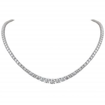 descending tennis necklace or rivière with brilliant cut diamonds set with prongs