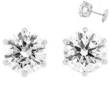 handmade solitaire earrings with brilliant cut diamonds and an alpasystem